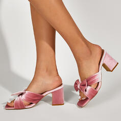 Women's PU Chunky Heel Sandals Pumps Peep Toe Slippers Square Toe Heels With Bowknot Solid Color shoes