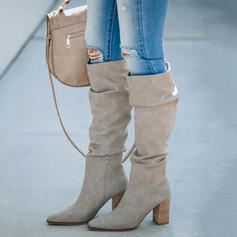 Women's Suede Chunky Heel Boots Knee High Boots Heels Pointed Toe With Zipper Solid Color shoes