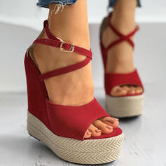 Women's Suede Wedge Heel Sandals Pumps Platform Wedges Peep Toe With Buckle Hollow-out Solid Color Crisscross shoes