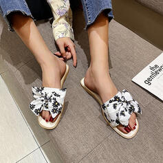 Women's Cloth Flat Heel Sandals Flats Peep Toe Slippers Square Toe With Bowknot Floral Print shoes