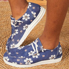 Women's Canvas Flat Heel Flats Low Top Loafers With Lace-up Flower Print shoes