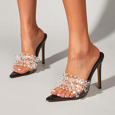 Women's PU Stiletto Heel Sandals Pumps Peep Toe Pointed Toe With Rhinestone shoes