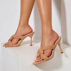 Women's PU Stiletto Heel Sandals Pumps Peep Toe Pointed Toe With Hollow-out shoes