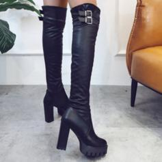 Women's PU Chunky Heel Boots Over The Knee Boots Round Toe With Buckle Solid Color shoes