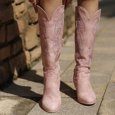 Women's Leatherette Chunky Heel Mid-Calf Boots Pointed Toe With Zipper Embroidery shoes