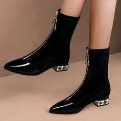 Women's PU Chunky Heel Mid-Calf Boots Pointed Toe With Zipper Jewelry Heel Solid Color shoes