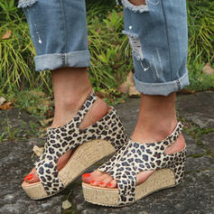 Women's PU Chunky Heel Sandals Wedges Peep Toe With Animal Print Splice Color shoes