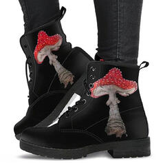 Women's PU Chunky Heel Ankle Boots Low Top With Lace-up shoes