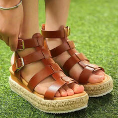 Women's PU Flat Heel Sandals Peep Toe With Solid Color shoes