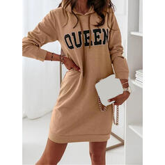 Print/Letter Long Sleeves Casual Dresses