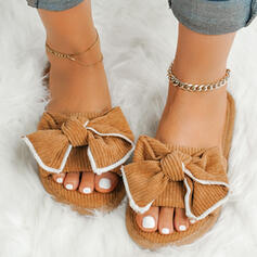 Women's Suede Flat Heel Slippers With Bowknot shoes