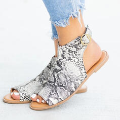Women's Leatherette Low Heel Sandals Peep Toe With Buckle Hollow-out Splice Color shoes