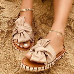Women's Cloth Flat Heel Sandals Peep Toe Slippers With Bowknot Solid Color shoes