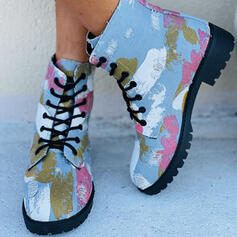Women's Denim Flat Heel Boots Ankle Boots With Lace-up Floral Print shoes