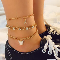 Fashionable Vintage Alloy With Butterfly Women's Ladies' Anklets 3 PCS