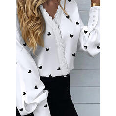 Print Lace Heart V-Neck Long Sleeves Button Up Elegant Shirt Blouses