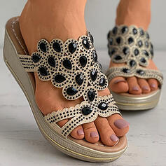 Women's PU Wedge Heel Sandals Platform Wedges Peep Toe Slippers With Rhinestone Hollow-out shoes