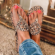 Women's PU Low Heel Flat Heel Sandals Flats Flip-Flops Slippers With Animal Print Hollow-out shoes