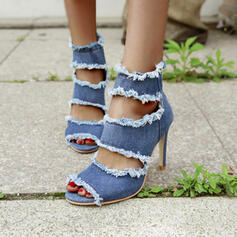 Women's Denim Stiletto Heel Sandals Peep Toe Pointed Toe With Solid Color shoes