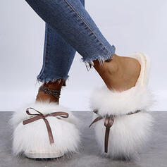 Women's Fake fur Flat Heel Flats Slingbacks Slippers Round Toe With Bowknot Faux-Fur Solid Color shoes