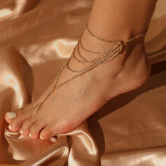 Link & Chain Layered Iron Women's Anklets 6 PCS