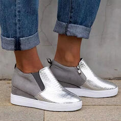 Women's PU Flat Heel Flats Round Toe With Splice Color shoes