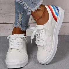 Women's PU Flat Heel Flats Low Top Round Toe Sneakers With Lace-up Stripe shoes