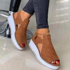 Women's Suede Wedge Heel Sandals Platform Wedges Peep Toe Slingbacks With Hollow-out Velcro Solid Color shoes
