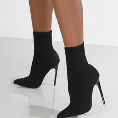 Women's Suede Stiletto Heel Boots Ankle Boots With Elastic Band Solid Color shoes