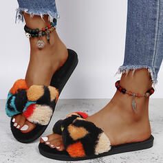 Women's Fake fur Flat Heel Sandals Flats Peep Toe Slippers With Faux-Fur Colorblock shoes