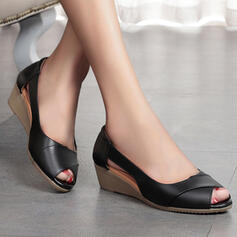 Women's Leatherette Spandex Low Heel Sandals Peep Toe With Solid Color shoes