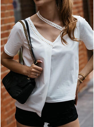 Beaded Solid V-Neck Short Sleeves T-shirts