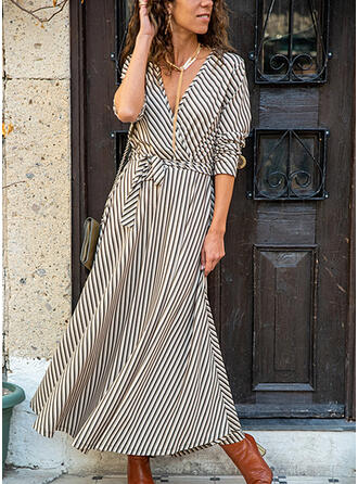 Striped Long Sleeves A-line Skater Casual Maxi Dresses