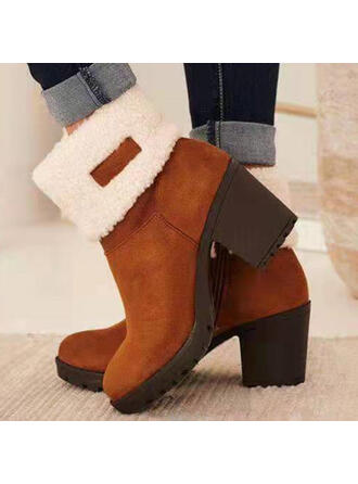 Women's Suede Chunky Heel Boots Ankle Boots Snow Boots Low Top Heels Winter Boots With Zipper shoes