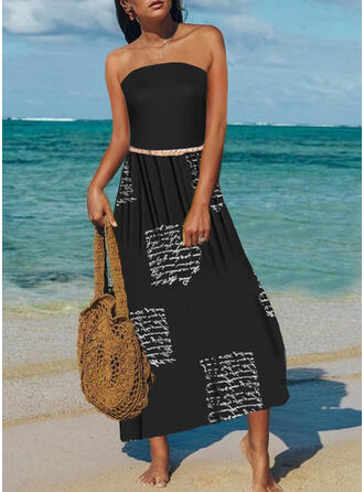 Print/Letter Sleeveless A-line Skater Casual/Vacation Maxi Dresses