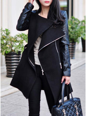 Woolen Long Sleeves Plain Slim Fit Coats