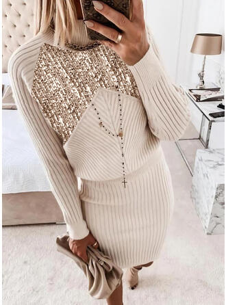 Sequins Long Sleeves Bodycon Above Knee Casual Sweater Dresses