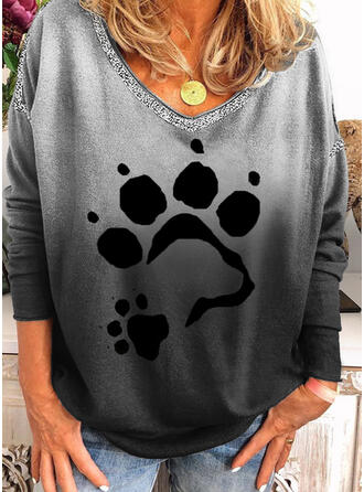 Animal Print Sequins Gradient V-Neck Long Sleeves Casual T-shirts