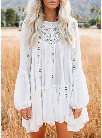 Lace/Hollow-out Long Sleeves/Lantern Sleeve Shift Above Knee Casual Tunic Dresses