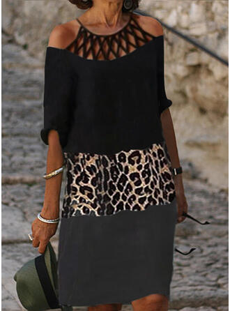 Color Block/Leopard 1/2 Sleeves Shift Knee Length Casual Tunic Dresses