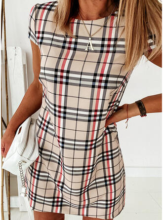Plaid Short Sleeves Sheath Knee Length Casual Dresses
