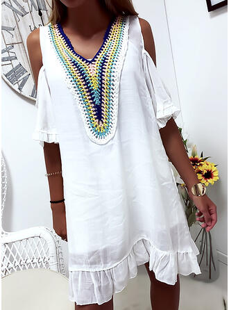 Embroidery 1/2 Sleeves Shift Above Knee Casual Tunic Dresses