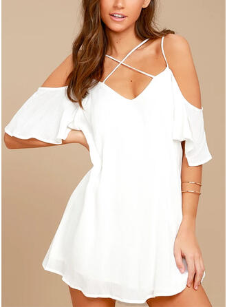 Solid/Backless 1/2 Sleeves Shift Above Knee Casual Dresses