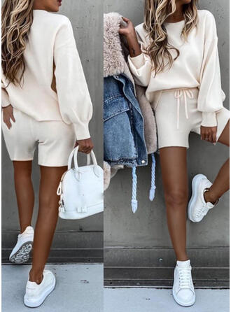 Solid Plus Size Casual Sporty Shorts Suits