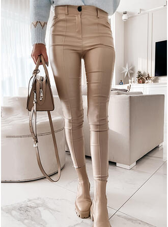 Solid PU Long Casual Plus Size Office/Business Pocket Pants