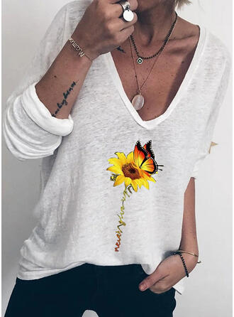 Animal Print Sunflower Print V-Neck Long Sleeves T-shirts