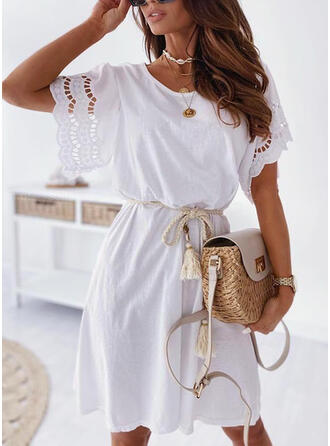 Solid Short Sleeves Sheath Knee Length Casual/Vacation Dresses