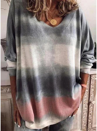 Color Block V-Neck Casual Blouses
