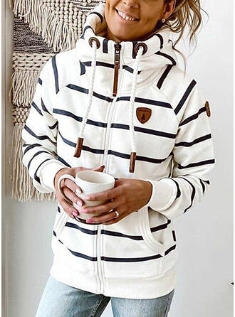 Cotton Blends Long Sleeves Striped Jackets