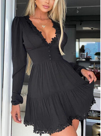 Lace/Solid Long Sleeves A-line Above Knee Little Black/Elegant Skater Dresses